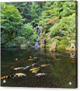 Koi Fish In Waterfall Pond At Japanese Garden Acrylic Print