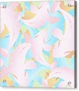 Koi Fish Powder Pink - Blue Acrylic Print