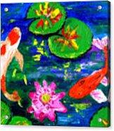 Koi Fishes Pond Acrylic Print