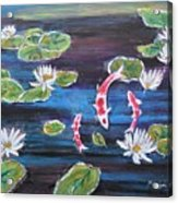 Koi In Lilly Pond Acrylic Print