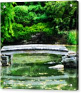 Koi Pond Bridge - Japanese Garden Acrylic Print