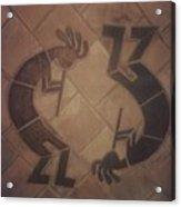 kokopelli Hand cut Tiles Acrylic Print