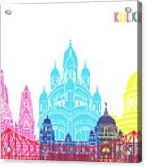 Kolkata Skyline Pop Acrylic Print