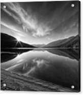 Kootenay Lake Sunrise Black And White Acrylic Print