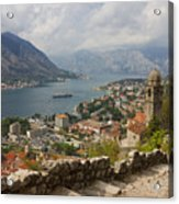Kotor Panoramic View From The Fortress Acrylic Print by Kiril Stanchev