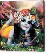 Krishna-sky Boy Acrylic Print by Lila Shravani
