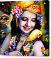 Krishna With Parrot Acrylic Print