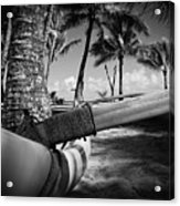 Kuau Palm Trees Hawaiian Outrigger Canoe Paia Maui Hawaii Acrylic Print