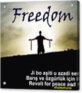 Kurdish Peace And Freedom Poster Acrylic Print