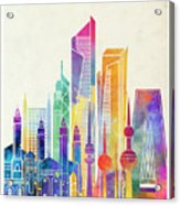 Kuwait City Landmarks Watercolor Poster Acrylic Print