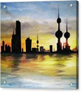 Kuwait City Sunset From The Bay Acrylic Print