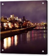 Kyoto Nighttime City Scenery Of Kamo River With Street Lights Re Acrylic Print