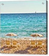 La Croisette Beach, Cannes, Cote D'azur, France Acrylic Print by John Harper