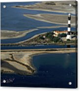 La Gacholle Lighthouse Surrounded With Blue Sea In Camargue Acrylic Print by Sami Sarkis