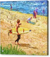 La Jolla Surfers Acrylic Print by Marilyn Sholin
