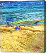 La Jolla Surfing Acrylic Print by Marilyn Sholin