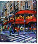 La Rotonde Paris Modern Impressionist Palette Knife Oil Painting Acrylic Print