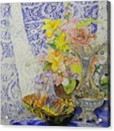Lace And Flowers Acrylic Print
