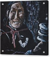Ladakhi Woman Spinning A Prayer Wheel Acrylic Print