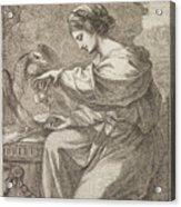Lady And Eagle Acrylic Print