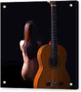 Lady And Guitar Acrylic Print