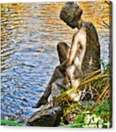 Lady And Water Acrylic Print