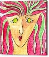 Lady in a purple shirt Acrylic Print