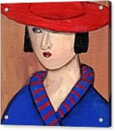 Lady In A Red Hat And Blue Coat Acrylic Print