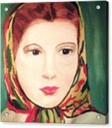 Lady In A Scarf Acrylic Print
