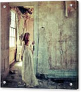 Lady In An Old Abandoned House Acrylic Print by Jill Battaglia