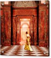 Lady In Golden Gown Walking Through Doorway Acrylic Print