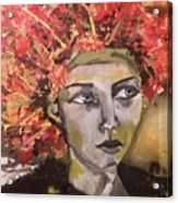 Lady In Red Headdress Acrylic Print