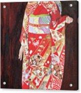 Lady In Red Kimono Acrylic Print