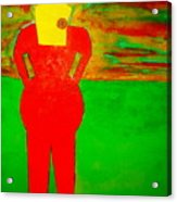 Lady In Red Looking At Sunset Acrylic Print