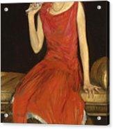 Lady In Red - Mrs Owen Barton Jones Acrylic Print
