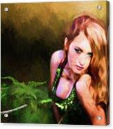 Lady In The Ferns Acrylic Print