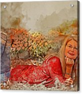 Lady In The Leaves 1 Acrylic Print