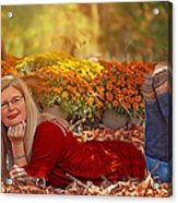 Lady In The Leaves Acrylic Print