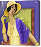 Lady In The Yellow Hat Acrylic Print by Sydne Archambault
