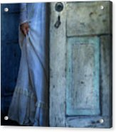 Lady In Vintage Clothing Hiding Behind Old Door Acrylic Print by Jill Battaglia