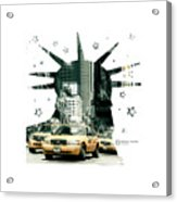 Lady Liberty And The Yellow Cabs Acrylic Print