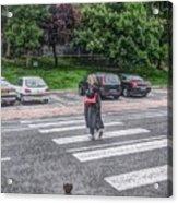 Lady On A Crossing Acrylic Print