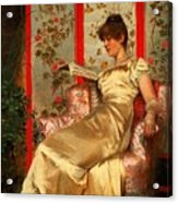 Lady Reading Acrylic Print by Joseph Frederick Charles Soulacroix