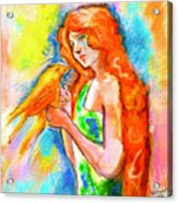Lady With Canary Acrylic Print