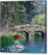 Lady With Parasol In Boat Acrylic Print