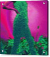 Lady With Plants In Green Acrylic Print