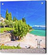 Lago Di Garda Beach In Sirmione View Acrylic Print