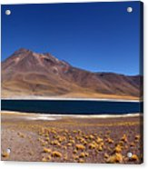 Laguna Miniques And Miniques Volcano Chile Acrylic Print