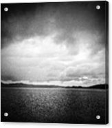 Lake And Dramatic Sky Black And White Acrylic Print