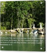 Lake At Cinco Ranch With Scripture Acrylic Print
